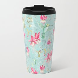 Vintage Watercolor hummingbird and Fuchsia Flowers on mint Background Travel Mug
