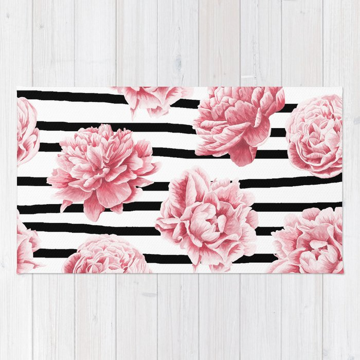 Simply Drawn Stripes and Roses Rug