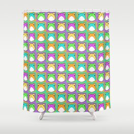 Pixel Froggy - Rainbow Pattern (Small) Shower Curtain