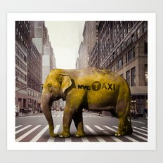 Elephant Taxi NYC Art Print