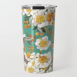 White Peony Orange Flower Bud Travel Mug