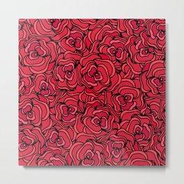 Hand drawn red roses pattern Metal Print