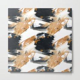 Artistic black white gold watercolor brushstrokes Metal Print