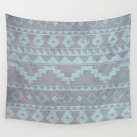 gray pattern Wall Tapestries featuring Mint & Gray pattern by dani
