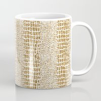 gold glitter Mugs featuring Gold Glitter Alligator Print by Zen and Chic