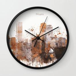 Brown Miami watercolor skyline design Wall Clock