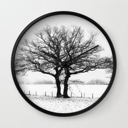 Three Winter Oaks Wall Clock