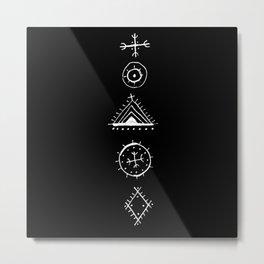 Berber Symbols Black Metal Print