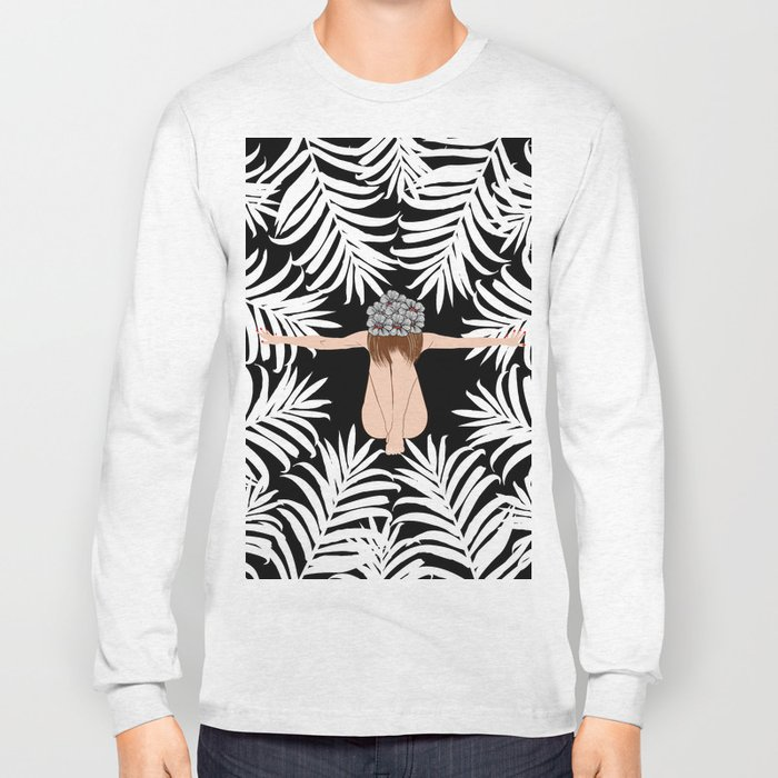 Black and white Botanical Design Long Sleeve T-shirt