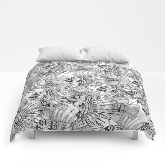 fish mirage black white Comforters