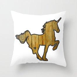 Pine Board Wooden Unicorn Throw Pillow