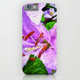 Lilies On Black Background iPhone Case