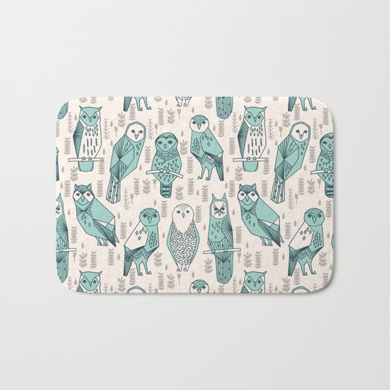 Parliament of Owls - Pale Turquoise by Andrea Lauren Bath Mat