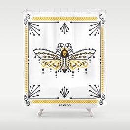 Death's Head Hawkmoth – Yellow & Black Palette Shower Curtain