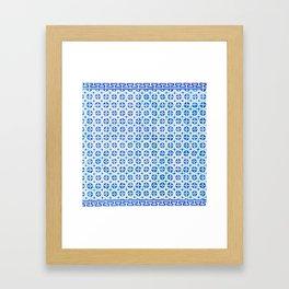 Blue Portuguese Tile Pattern Framed Art Print