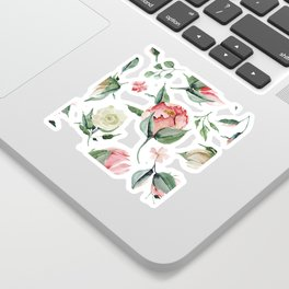 Pink White Peony Roses Watercolor Floral Pattern Sticker