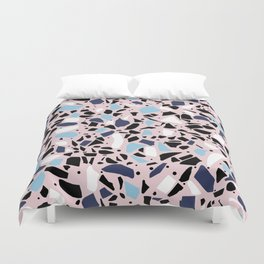 Terrazzo Spot Blues on Blush Duvet Cover