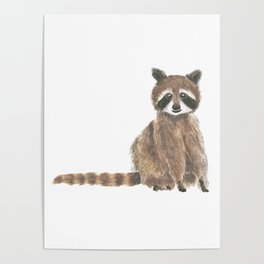 baby raccoon watercolor Poster