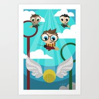 quidditch Art Prints featuring QUIDDITCH by Chris Thompson, ThompsonArts.com