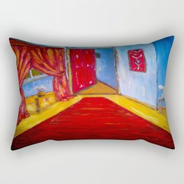 Down the Blue Passage with Flowers Rectangular Pillow