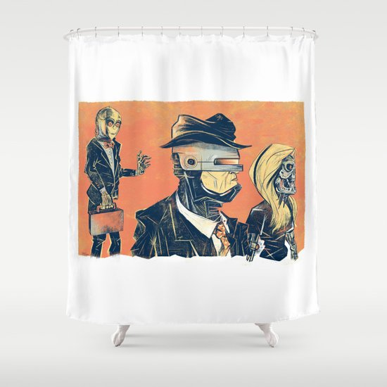 White Collar Robots Shower Curtain