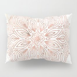 Mandala Rose Gold Quartz on Marble Pillow Sham