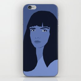 Blue woman portrait, abstract. iPhone Skin