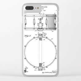 Snare Drum Patent - Drummer Art - Black And White Clear iPhone Case