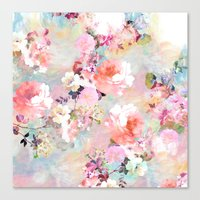 watercolor Canvas Prints featuring Love of a Flower by Girly Trend