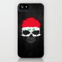 Flag of Iraq on a Chaotic Splatter Skull iPhone Case
