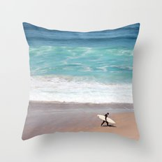 Lonely Surfer Throw Pillow