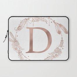 Letter D Rose Gold Pink Initial Monogram Laptop Sleeve