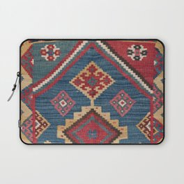 Vintage Woven Kilim // 19th Century Colorful Royal Blue Yellow Authentic Classic Ornate Accent Patte Laptop Sleeve