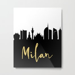MILAN ITALY DESIGNER SILHOUETTE SKYLINE ART Metal Print
