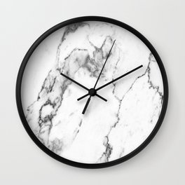 White Marble I Wall Clock