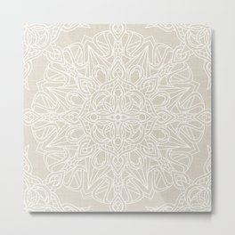 White Lace Mandala on Antique Ivory Linen Background Metal Print