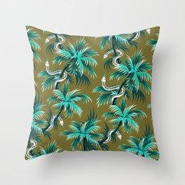 Snake Palms - Light Teal Mustard Throw Pillow