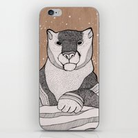 snow leopard iPhone & iPod Skins featuring Snow Leopard by Diana Hope