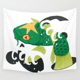 Astro Koi Green Wall Tapestry