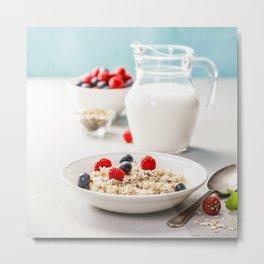 Oatmeal porridge with fresh berries and almond milk Metal Print