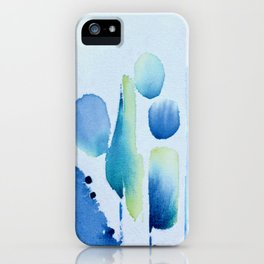 Watercolour tumbles in blue iPhone Case