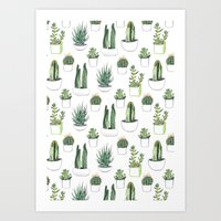 watercolour Art Prints featuring watercolour cacti and succulent by Vicky Webb