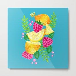 Pink Lemonade Pattern on Blue Metal Print