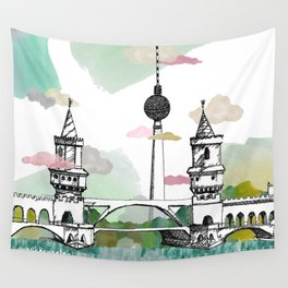 Oberbaum Brücke and TV Tower - Berlin - East/West boundary - East Side Gallery Wall Tapestry