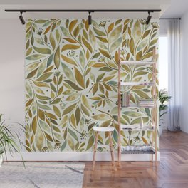 Leafy Brown Wall Mural