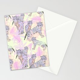 Blush pink lavender ivory tropical leopard pattern Stationery Cards
