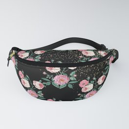 Romantic peony floral and golden confetti design Fanny Pack