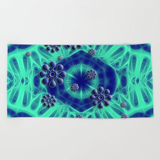 Popping flowers in trippy blue Beach Towel