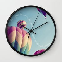 nietzsche Wall Clocks featuring the higher we soar by shannonblue