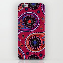Oriental Persian Paisley, Dots - Red Blue Pink iPhone Skin